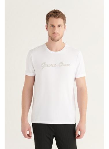 Avva AVVA Erkek Beyaz Bisiklet Yaka Şerit Detaylı T-Shirt A11Y1030 Beyaz
